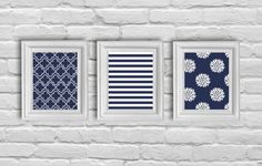 Digital Download Set  09,  White and Navy Blue Modern Art Prints on Etsy, $12.00