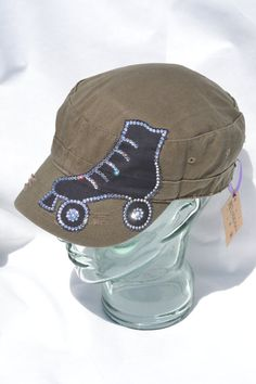 Bling Cap Distressed Olive Military Cap with Black Distressed SK8 Patch adorned with Crystal Swarovski Elements ~ Roller Derby/Roller Skate