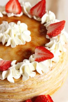 Strawberry Cream Crepe Cake - Light, delicate crepes are layered with a simply strawberry-mascarpone cream to create the easiest and most perfect spring cake. Crape Cake, Strawberry Crepes, Cake Recipes, Dessert Recipes, Spring Cake, Mille Crepe, Strawberries And Cream, Sweet Desserts, Sweet Bread