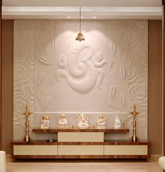 Interior Design for Pooja Room Wall Units - Indian Pooja Room Designs Temple Room, Home Temple, Temple India, Temple Design For Home, Home Design, Design Ideas, Design Design, Pooja Room Door Design, Wall Design