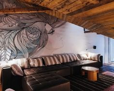 Beautiful Contemporary Living Room Face Wall Murals