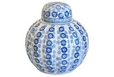 One Kings Lane - Blue & White Flower Jar