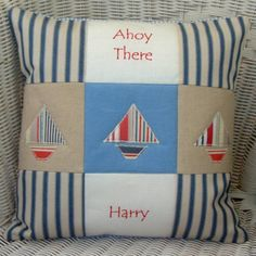 Country Living / Tuppenny House Designs / 'Ahoy There!' Personalised Cushion