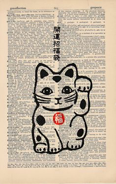 Maneki Neko Good Luck Cat Vintage Asian Print on an by AvantPrint,