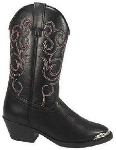 Childrens Cowboy Boots In Black With Toe Clip