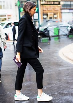 Black blazer + black cropped trousers + white sneakers