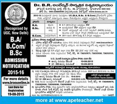 BRAOU UG B.A/B.Com/B.Sc Admission Notification  2015-16BRAOU B.A/B.Com/B.Sc Admission Notification  2015-16, braou.ac.in, BRAOU UG Programme Online admissions 2015-16, Fee details, Eligibility