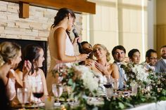 Bride's sweet reaction to toast | Oak Pointe Golf and Country Club Wedding by Nicole Haley Photography