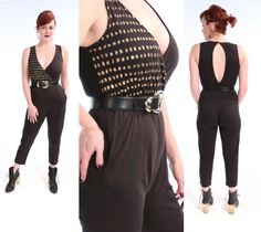 JAZZY 80's Sexy Black Bodysuit Unitard Gold Polka Dot Deep V Open Back Jumpsuit | medium vintage SLEEVELESS Pocketed Onesie Workout Romper by LadyLazarusVintage on Etsy