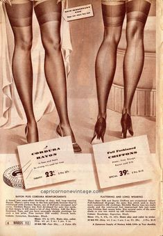 montgomery ward great spring sale 1941 catalog (by CapricornOneVintage) French Lingerie, Retro Lingerie, Jolie Lingerie, Classy Lingerie, Vintage Stockings, Stockings Lingerie, Nylon Stockings, Retro Advertising, Vintage Advertisements