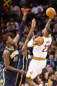 LeBron shoots over Roy Hibbert of the Indiana Pacers 3/20/2015. Cavs won 92 to 95!!!