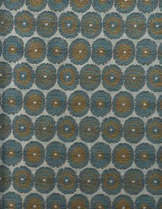 BLUE STITCHED CIRCLES  RETRO  POLY  UPHOLSTERY FABRIC
