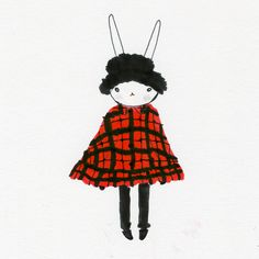 Fifi in the A-line tartan coat and furry hat