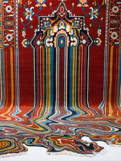 Faig Ahmeddistorts the patterns of traditional Azerbaijani rugs, dimantling their structure in order to build compositions that trick the eye by appearing to melt off the wall. By rearticulating the original design, he creates contemporary sculptural forms that look like digital glitches, patte