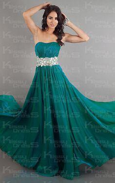 Empire A-line Sweetheart Long Chiffon Prom Dress