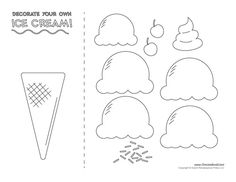 Ice cream templates and ice cream coloring pages for an ice cream party. Decorate your classroom bulletin boards with these free ice cream printables. Ice Cream Cone Craft, Ice Cream Crafts, Ice Cream Art, Ice Cream Theme, Ice Cream Template, Cone Template, Templates Printable Free, Free Printable Coloring Pages, Preschool Worksheets