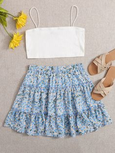 Cute Skirt Outfits, Cute Comfy Outfits, Crop Top Outfits, Cute Summer Outfits, Girly Outfits, Pretty Outfits, Cool Outfits, Cami Top Outfit, Cute Skirts