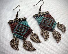 Macrame Earrings, Gipsy Boho Style, Handmade Earrings, Dangle Earrings - New Day New Diy! Diy Earrings Dangle, Macrame Earrings, Macrame Jewelry, Macrame Bracelets, Earrings Handmade, Etsy Earrings, Crochet Earrings, Card Weaving, Micro Macramé
