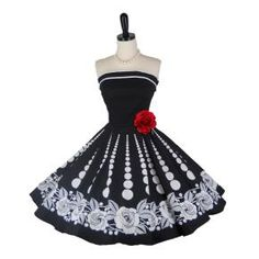 Retro 1950s Style Prom Party Dress Black Rose Strapless Circle Skirt Ruby Rox Size 3 Extra Small XXS