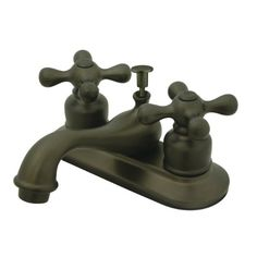 Amazon.com: Kingston Brass KB605AX 4-Inch Centerset Lavatory Faucet with Metal Cross Handle, Oil Rubbed Bronze: Home Improvement