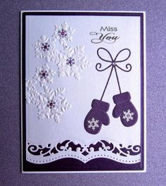 TLC458 Purple Mittens by catluvr2 - Cards and Paper Crafts at Splitcoaststampers