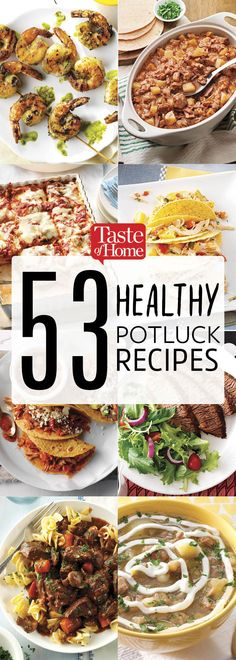 53 Healthy Potluck Recipes - - Healthy potluck recipes packed full of flavor and nutrition, your guests will never know you've cooked up something good for them. Potluck Desserts, Church Potluck Recipes, Main Dish For Potluck, Easy Potluck Recipes, Healthy Potluck, Potluck Dinner, Easy Appetizer Recipes, Healthy Dinner Recipes, Cooking Recipes