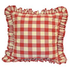 Pillow sham with a buffalo plaid motif and ruffled edge.  Product: Euro shamConstruction Material: LinenC...