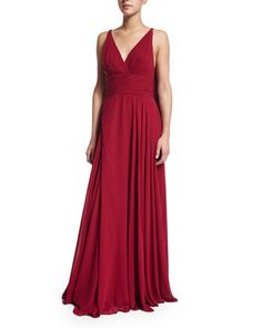 Sleeveless Draped-Back Pleated Gown  by ML Monique Lhuillier at Neiman Marcus.
