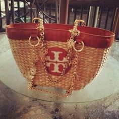 I just discovered this while shopping on Poshmark: Tory Burch tote with gold chain. Check it out! Price: $225 Size: OS, listed by lilylanchen