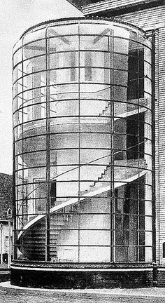 Designed by Walter Gropius and Adolf Meyer, office building at the exhibition of the German Werkbund in Cologne 1914.