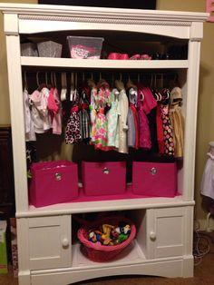 DIY Baby closet storage up cycled from old television entertainment center