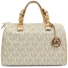 Michael Kors Grayson Bowling bag (€355) ❤ liked on Polyvore featuring bags, handbags, purses, bolsas, bolsos, accessories, bowling bag, beige handbags, zipper handbag and zipper purse