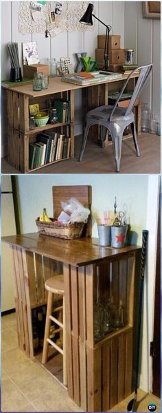 Diy wood furniture projects pallet diy wood crate office table instructions diy wood crate furniture ideas projects diy how to diy wood crate furniture Wood Crate Shelves, Diy Wooden Crate, Wood Crates, Diy With Crates, Crate Crafts, Crate Decor, Diy Crafts, Craft Room Tables, Diy Table