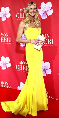Elle Macpherson in Romona Keveza at the Mon Cheri Barbara Tag party in Munich, Germany, December 2012... flawless.