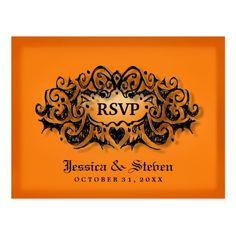 RSVP Halloween Bold Orange Black Wedding Postcard