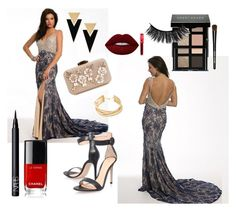 V-neck Lace Prom Dress by johnnymuller on Polyvore featuring Gianvito Rossi, Yves Saint Laurent, BCBGMAXAZRIA, Bobbi Brown Cosmetics, Lime Crime and NARS Cosmetics