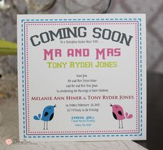 Whimsical birds announce your wedding! Melanie wedding invitation by RoseyMae Wedding Paper Design. Whimsical Wedding Invitations, Wedding Paper, Paper Design, Getting Married, Card Stock, Reception, Birds, Celebrities, Fun