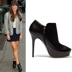Lea Michele in Jimmy Choo black patent leather Decoy booties [CELE168] - $238.00 : Discounted Christian Louboutin,Jimmy Choo,Valentino,Manobo Blahnik and other Brand shoes., Christian Louboutin,Jimmy Choo,and Valentino