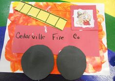 "Fun With Fire Safety: Preschool Playbook:  2 part project. Finger paint ""flames"" and the next day add shape fire truck"