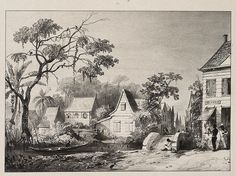 Gezicht op de Saramaccastraat 1830 Old Pictures, Colonial, Caribbean, Dutch, Nostalgia, Buildings, Paintings, Sweet, Art