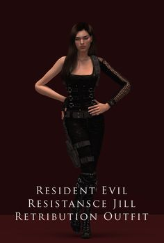 Resident Evil Resistansce Jill Retribution Outfit| astya96 auf Patreon Sims 4, Die Sims, Fashion Deals, Fashion Trends, Jill Valentine, Trending Now, Resident Evil, Women Empowerment, Pretty Girls