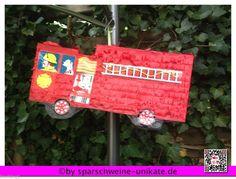 Grosse Pinata als Feuerwehrauto - Feuerwehr - 110 - Pinata - Kindergeburtstag -