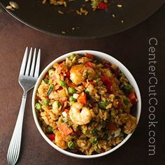 Tasty Chinese take-out made at home. Chinese Fried Rice with options for chicken, shrimp and/or vegetarian.
