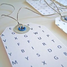 I would like to make these myself and make a custom WordSearch with the recipient's name on it.  To find out if it is their gift, they have to find their name first. This would be great for a group of kids.
