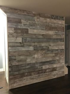 Hold the sea salt. Premium cedar shiplap does wonder to add a modern exposed wood look to any room or home. These driftwood inspired colors not only offer a sense of cal. Pallet Walls, Wooden Walls, Wooden Wall Bedroom, Painted Wood Walls, Diy Pallet Wall, Diy Wood Wall, Rustic Wood Walls, Wooden Accent Wall, Home Organization