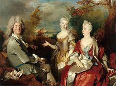Beaux-Arts (peinture): Portrait de famille, vers 1730, Nicolas de Largillière, Paris, musée du Louvre