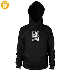 Eat Sleep Train Repeat - Herren Hooded Sweater, Größe: XXL, Farbe: schwarz (*Partner-Link)