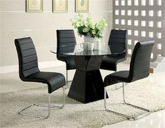 """45"""" Lynelle Round Glass Black Dining Table Set"""