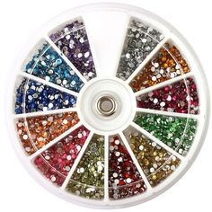 New Colorful 3d Nail Art Glitter Rhinestones Round Wheel Acrylic UV Gel TIP Nail Tools Fashion Women Nail Art Decorations #Affiliate