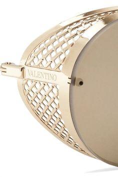 Valentino - Round-frame Gold-tone Mirrored Sunglasses - one size